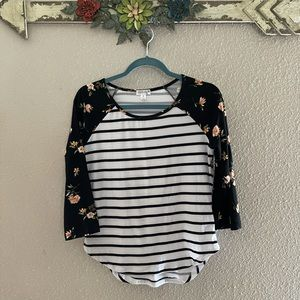 Orange Kiss - stripe / floral long sleeve blouse